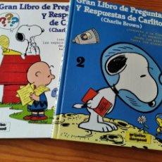 Cómics: CHARLIE BROWN, 2 TOMOS ENCICLOPEDICOS GRAN LIBRO DE PREGUNTAS Y RESPUESTAS DE CARLITOS. GRIJALBO. Lote 235502210