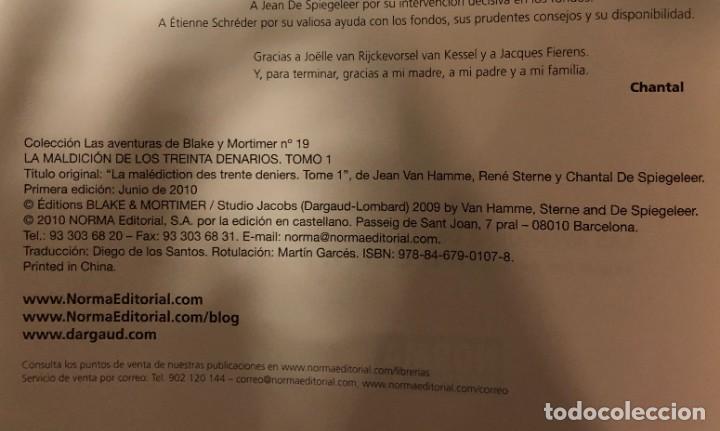 Cómics: LAS AVENTURAS DE BLAKE Y MORTIMER Nº19. LA MALDICION DE LOS TREINTA DENARIOS. TOMO 1 - Foto 3 - 262866695