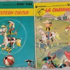 Cómics: 2 ALBUMES LUCKY LUKE - LA CARAVANA (JUNIOR 1ª EDICIÓN 1979) Y WESTER CIRCUS (GRIJALBO 1981). Lote 296152803
