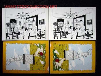 4 POSTALES COMPLEMENTO DE LA EDICIÓN DEL CONOCIDO TINTIN APÓCRIFO: TINTIN EN SUIZA (Tebeos y Comics - Juventud - Tintín)