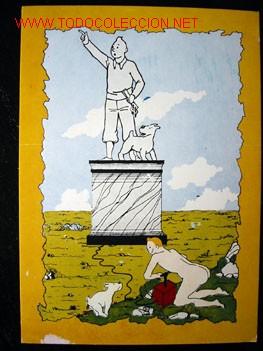 Cómics: 4 POSTALES complemento de la edición del conocido tintin apócrifo: TINTIN EN SUIZA - Foto 6 - 45163825