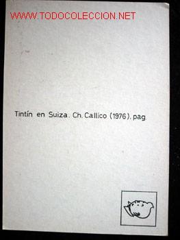 Cómics: 4 POSTALES complemento de la edición del conocido tintin apócrifo: TINTIN EN SUIZA - Foto 7 - 45163825