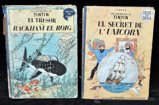 LOTE DE 2 TINTIN EN CATALAN 1ª EDICION (Tebeos y Comics - Juventud - Tintín)