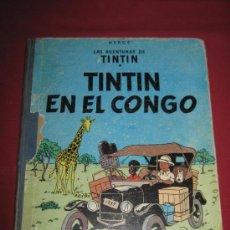 Fumetti: TINTIN EN EL CONGO - 2ª EDICCION 1970 - INTERIOR DE LAS PORTADAS COLOREADAS. Lote 34607193