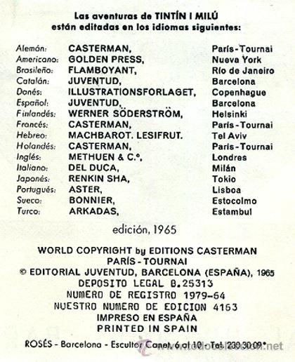 Cómics: TINTIN, ATERRIZAJE EN LA LUNA , JUVENTUD , EDICION 1965 , TAPA DURA, ORIGINAL, H - Foto 3 - 35100962