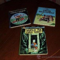Cómics: 4 PRIMERA EDICIÓN DE TINTIN VUELO 714 + CONGO + STOCK DE COQUE+ CIGARROS FARAON. Lote 38177021