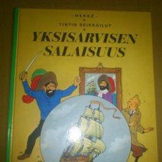 Cómics: TINTIN IDIOMAS - EL SECRETO DEL UNICORNIO - YKSISARVISEN SALAISUUS - FINLANDES - FINES - IDIOMA. Lote 43192224