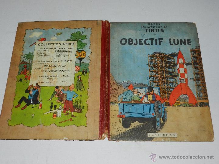 TINTIN - OBJECTIF LUNE, EDT CASTERMAN PARIS, 1953 , SEÑALES DE USO (Tebeos y Comics - Juventud - Tintín)