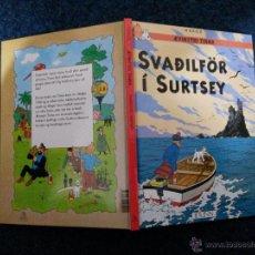 Cómics: TINTIN IDIOMAS - ISLANDES - LA ISLA NEGRA - SVADILFOR I SURTSEY - ISLANDIA IDIOMA. Lote 188514052
