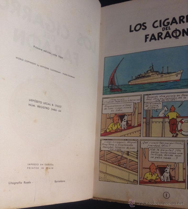 Cómics: las aventuras de tintin los cigarros del faraon primera edicion 1964 - Foto 2 - 52609975
