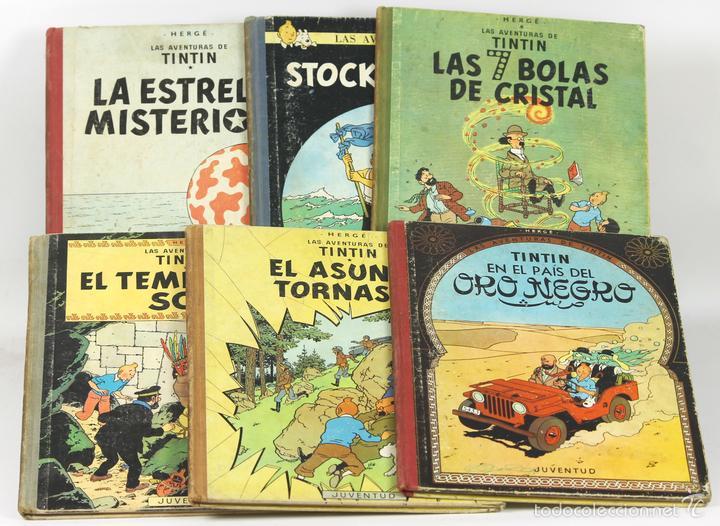 7679 - LOTE DE 6 EJEMPLARES DE TINTÍN. 2ª EDIC.(VER DESCRIP). HERGÉ. EDIC. JUVENTUD. 1961/1965. (Tebeos y Comics - Juventud - Tintín)