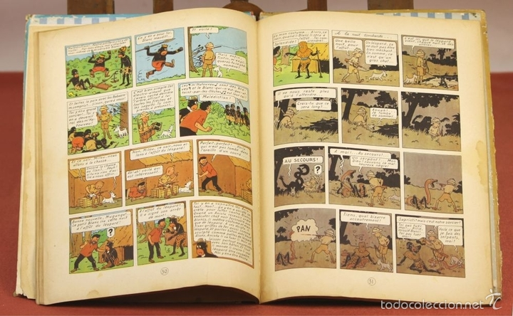 Cómics: 7972 - TINTÍN AU CONGO. LOMO ROJO. HERGÉ. EDIT. CASTERMAN. 1947. - Foto 6 - 213444176
