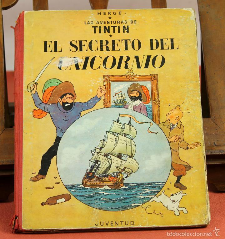 7975 - TINTÍN EL SECRETO DEL UNICORNIO.1ª EDICIÓN. LOMO ROJO. HERGÉ. EDIT. JUVENTUD. 1959. (Tebeos y Comics - Juventud - Tintín)