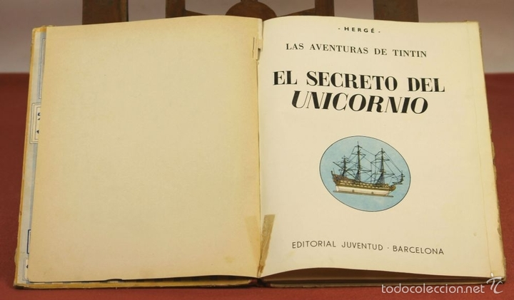 Cómics: 7975 - TINTÍN EL SECRETO DEL UNICORNIO.1ª EDICIÓN. LOMO ROJO. HERGÉ. EDIT. JUVENTUD. 1959. - Foto 2 - 60904687