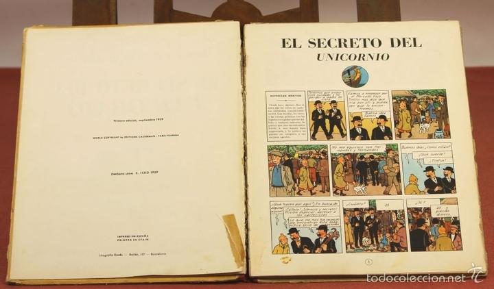Cómics: 7975 - TINTÍN EL SECRETO DEL UNICORNIO.1ª EDICIÓN. LOMO ROJO. HERGÉ. EDIT. JUVENTUD. 1959. - Foto 4 - 60904687