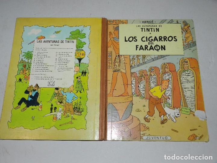 (M) LAS AVENTURAS DE TINTIN - LOS CIGARROS DEL FARAON, EDT JUVENTUD, 3 EDC 1968, SEÑALES DE USO (Tebeos y Comics - Juventud - Tintín)