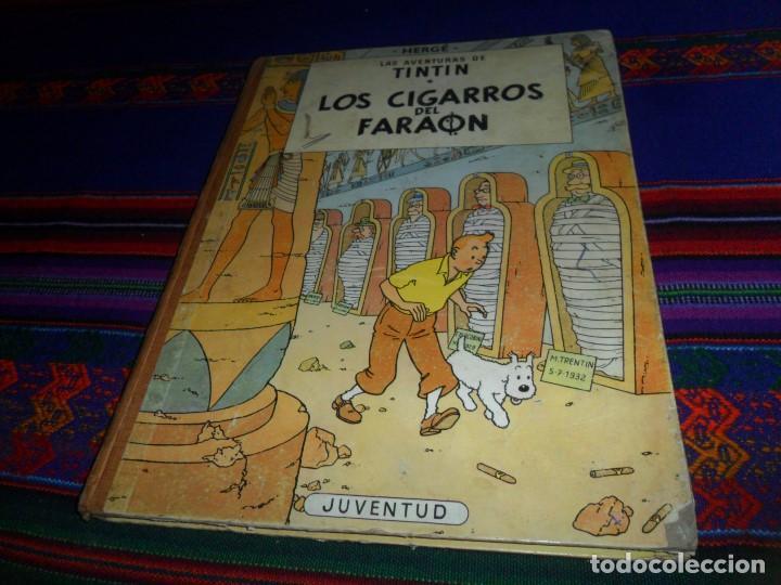 CON LETRAS EN LOMO, TINTIN LOS CIGARROS DEL FARAÓN 1ª PRIMERA EDICIÓN. JUVENTUD 1964 CORRECTO ESTADO (Tebeos y Comics - Juventud - Tintín)