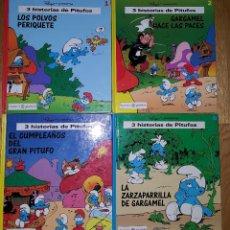 Cómics: LOTE DE 4 TOMOS DE PLANETA JUNIOR 3 HISTORIAS DE PITUFOS. TOMOS 1, 2, 4 Y 6OMO 4. Lote 117103611