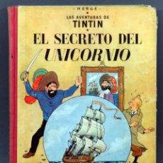 Comics : AVENTURAS TINTÍN HERGE SECRETO DEL UNICORNIO EDITORIAL JUVENTUD 1959 1ª EDICIÓN. Lote 124638155