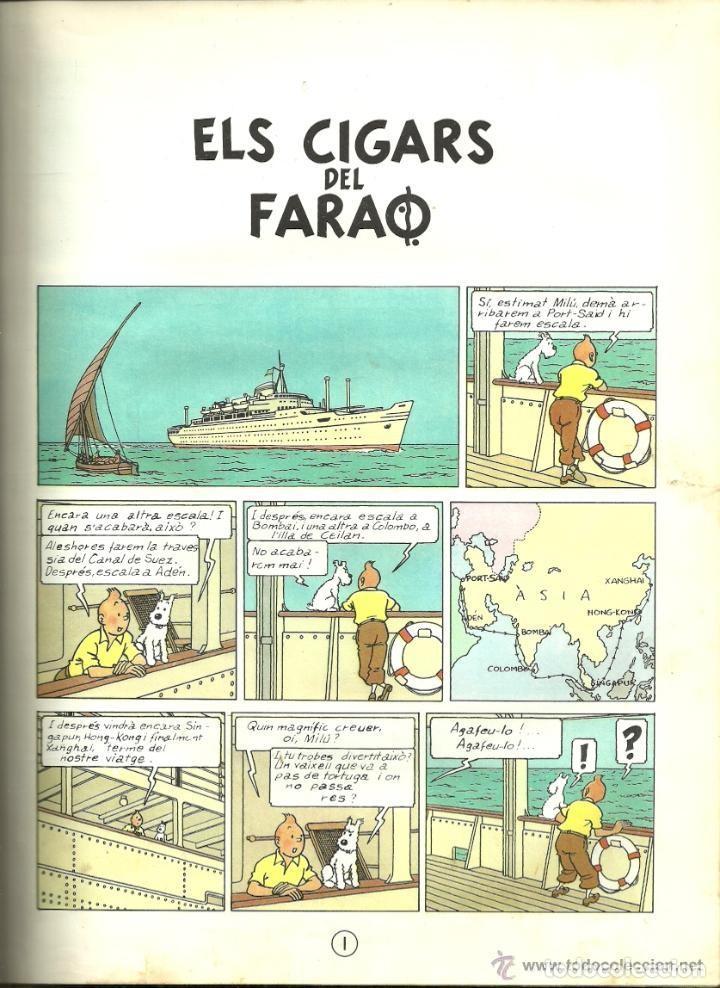 Cómics: TINTIN. ELS CIGARS DEL FARAÓ - EDITORIAL JUVENTUD - 2ª EDICIÓN EN CATALÁN. LOMO COLOR MARRÓN - 1965 - Foto 6 - 134836002