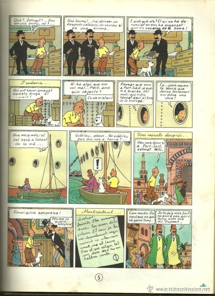 Cómics: TINTIN. ELS CIGARS DEL FARAÓ - EDITORIAL JUVENTUD - 2ª EDICIÓN EN CATALÁN. LOMO COLOR MARRÓN - 1965 - Foto 8 - 134836002