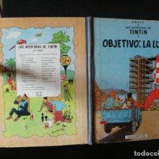 Cómics: LAS AVENTURAS DE TINTIN OBJETIVO LA LUNA QUINTA EDICION LOMO TELA AZUL 1969 BUEN ESTADO. Lote 139283966