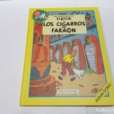 Cómics: LIBRO DE TINTIN DOBLE DE CÍRCULO DE LECTORES - LOS CIGARROS DEL FARAÓN Y EL LOTO AZUL. Lote 148162966