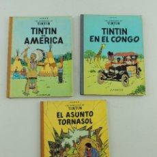 Cómics: LAS AVENTURAS DE TINTIN 3 UNIDADES EN EL AMERICA,EN EL CONGO,EL ASUNTO TORNASOL JUVENTUD. Lote 155161902