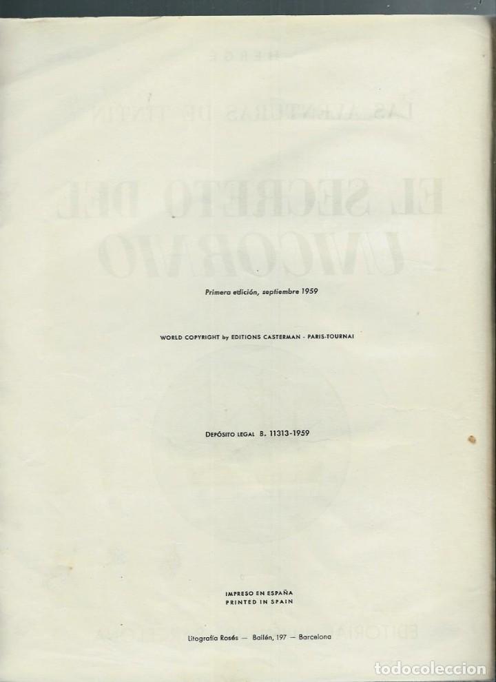 Cómics: HERGE - TINTIN - EL SECRETO DEL UNICORNIO - JUVENTUD 1959, 1ª PRIMERA EDICION - VER DESCRIPCION - Foto 3 - 155611334