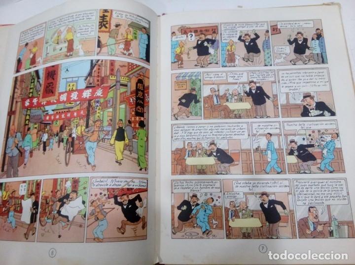 Cómics: HERGE - TINTIN - EL LOTO AZUL - ED. JUVENTUD 1965, 1ª PRIMERA EDICION - IMPRENTA ROSES, LOMO ROJO - Foto 6 - 155609538