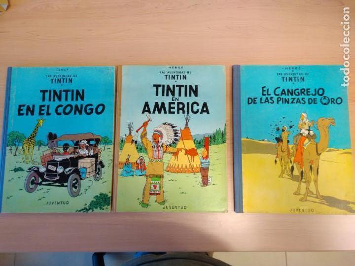 LOTE TINTÍN, EDITORIAL JUVENTUD. LOMO TELA. OREJA, CONGO, AMERICA (Tebeos y Comics - Juventud - Tintín)