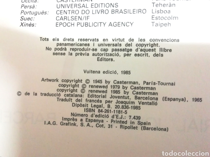 Cómics: TINTIN - L'ORELLA ESCAPÇADA - ED. JUVENTUD 1985 - Foto 5 - 96117951