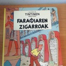 Comics: HERGÉ - TINTINEN ABENTURAK FARAOIAREN ZIGARROAK ELKAR 1986 PRIMERA EDICION EN EUSKERA VASCO. TINTIN. Lote 166630570