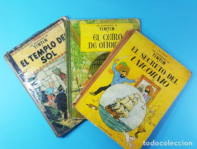 LOTE 3 TOMOS TINTIN 2ª Y 3ª EDICION, EL CETRO DE OTOKAR, EL SECRETO DEL UNICORNIO,EL TEMPLO DEL SOL (Tebeos y Comics - Juventud - Tintín)