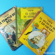 Cómics: LOTE 3 TOMOS TINTIN 2ª Y 3ª EDICION, EL CETRO DE OTOKAR, EL SECRETO DEL UNICORNIO,EL TEMPLO DEL SOL. Lote 172055497