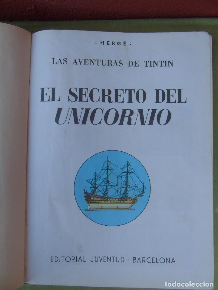 Cómics: LAS AVENTURAS DE TINTIN. EL SECRETO DEL UNICORNIO. HERGÉ. ED. JUVENTUD. 3ª EDICIÓN 1965. - Foto 2 - 172090989