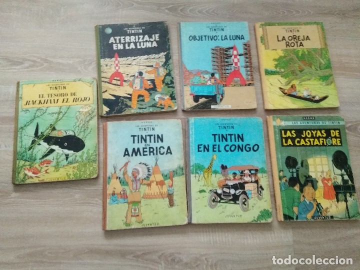 TINTIN EN EL CONGO 1968/ OREJA ROTA 69/ OBJETIVOLA LUNA 69/ATERRIZAJE EN LA LUNA 69/ LOTE 7 (Tebeos y Comics - Juventud - Tintín)
