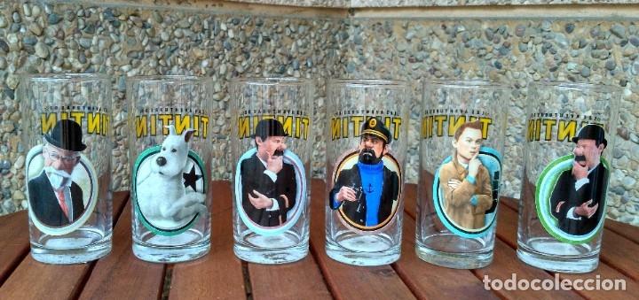 COLECCION 6 VASOS DE CRISTAL LAS AVENTURAS DE TINTIN. PARAMOUNT PICTURES 2011 (Tebeos y Comics - Juventud - Tintín)