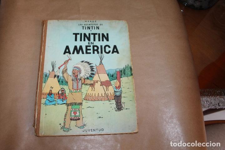 TINTIN EN AMÉRICA, 1ª EDICIÓN, LOMO DE TELA, EDITORIAL JUVENTUD (Tebeos y Comics - Juventud - Tintín)