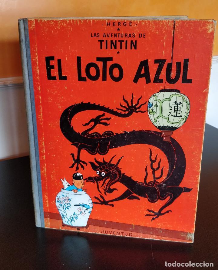 **MUY BUEN ESTADO** PRIMERA EDICIÓN TINTIN EL LOTO AZUL. LOMO TELA AZUL. JUVENTUD 1965 (Tebeos y Comics - Juventud - Tintín)