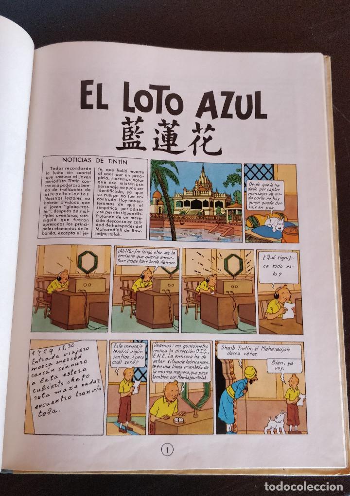 Cómics: **MUY BUEN ESTADO** PRIMERA EDICIÓN TINTIN El Loto Azul. Lomo tela azul. JUVENTUD 1965 - Foto 9 - 184856452