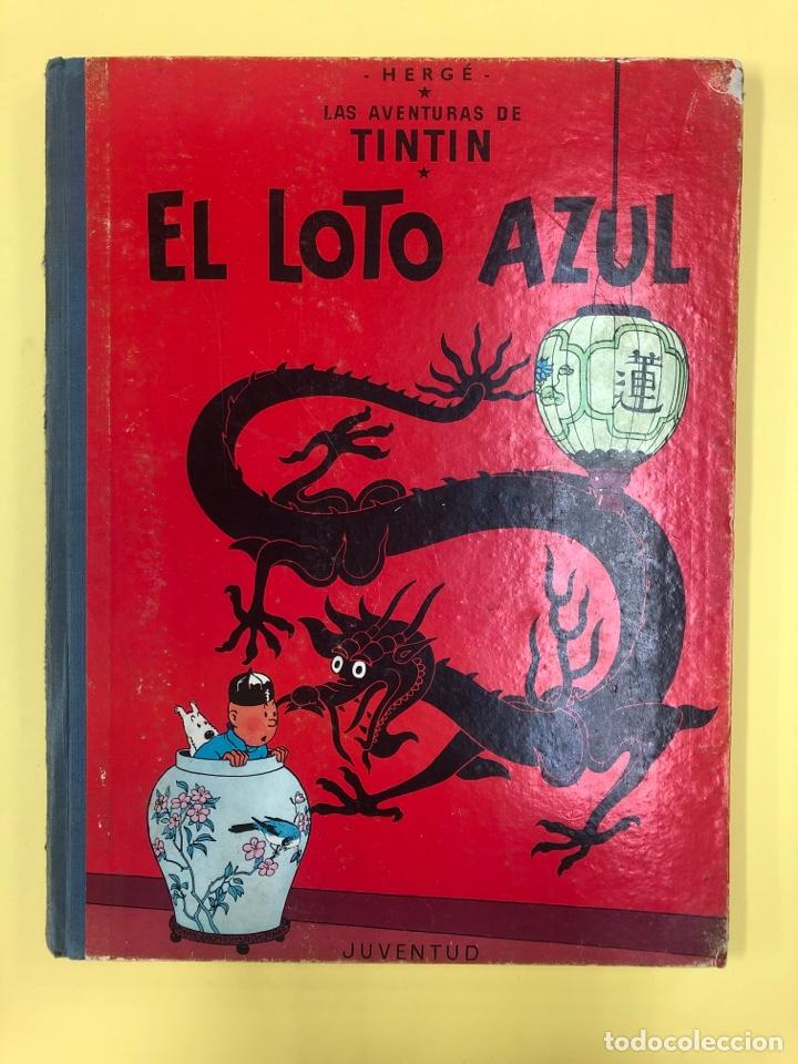 TINTIN - EL LOTO AZUL - EDITORIAL JUVENTUD 1ª EDICION 1965 - LOMO AZUL (Tebeos y Comics - Juventud - Tintín)