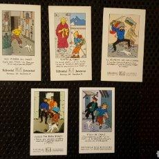 Cómics: LOTE TARJETAS PROMOCIONALES - TINTIN - EDITORIAL JUVENTUD - SIDNEY, COQUE, UNICORNIO, TIBET, FARAÓ. Lote 189088493