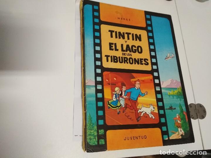 TINTIN Y EL LAGO DE LOS TIBURONES. 2ª EDICIÓN 1977 TAPA DURA (Tebeos y Comics - Juventud - Tintín)