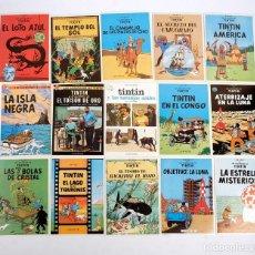 Cómics: 15 POSTALES DE TINTIN. PORTADAS DE LIBROS Y CARTELES PELÍCULAS. EDITORIAL JUVENTUD. 1983. NUEVAS. Lote 191541678