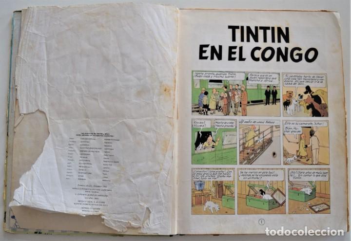 Cómics: LAS AVENTURAS DE TINTÍN - TINTIN EN EL CONGO - PRIMERA EDICIÓN 1968 - LOMO TELA - VER DESCRIPCIÓN - Foto 5 - 193941742