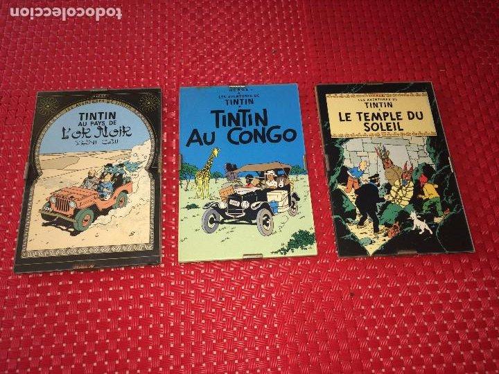 LOTE 3 CUADROS TINTIN - MADERA - CRISTAL Y CAR´STULS COMIC EN FRANCÉS - MIDEN 15 X 10 CMS. (Tebeos y Comics - Juventud - Tintín)