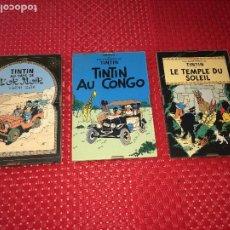 Cómics: LOTE 3 CUADROS TINTIN - MADERA - CRISTAL Y CAR´STULS COMIC EN FRANCÉS - MIDEN 15 X 10 CMS.. Lote 195008236