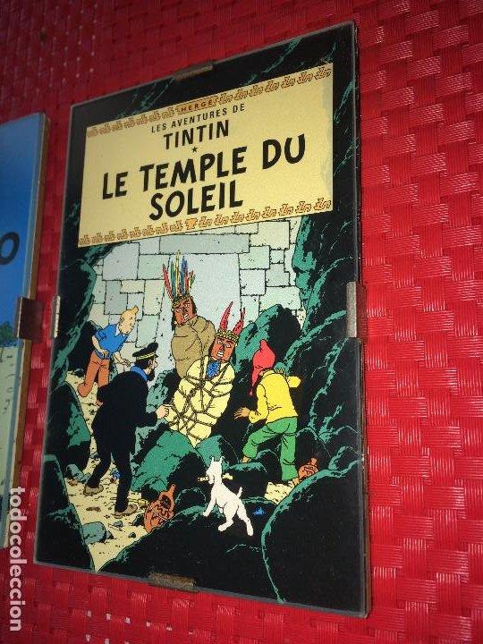 Cómics: LOTE 3 CUADROS TINTIN - MADERA - CRISTAL Y CAR´STULS COMIC EN FRANCÉS - MIDEN 15 X 10 CMS. - Foto 2 - 195008236