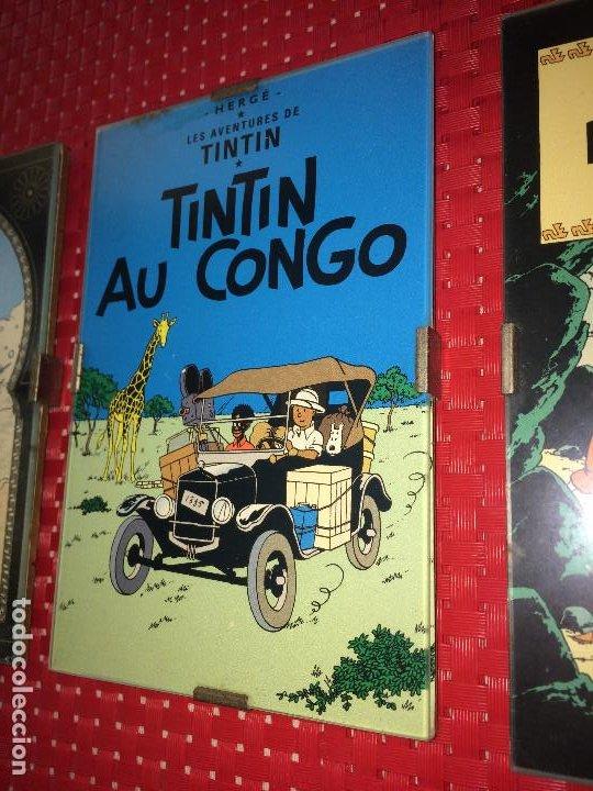 Cómics: LOTE 3 CUADROS TINTIN - MADERA - CRISTAL Y CAR´STULS COMIC EN FRANCÉS - MIDEN 15 X 10 CMS. - Foto 3 - 195008236